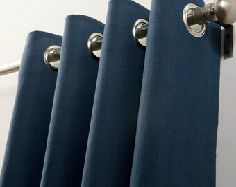 Pair (two 50W panels) custom made, navy blue, linen curtain panels, grommets, drapes, off white or choose your own color