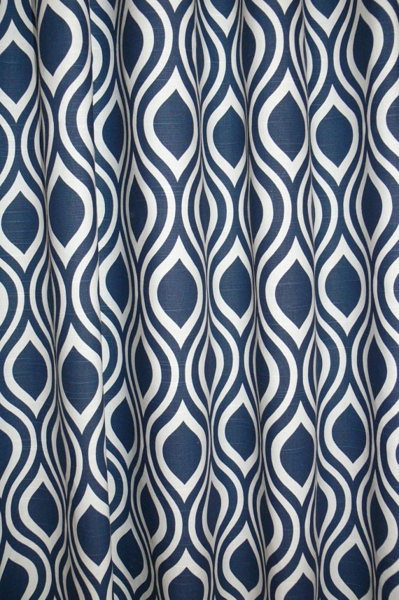 Fabric shower curtain, navy blue and white, nicole cotton print, 72 ...
