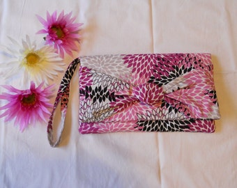 SALE - Knot Clutch - Purple Graphic Flowers