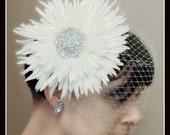 White Flower Birdcage Veil with Rhinestone Centerpiece