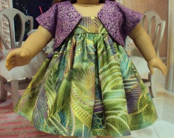 Green  dress for American girl  Saige or Ivy with metallics   and other 18 inch dolls