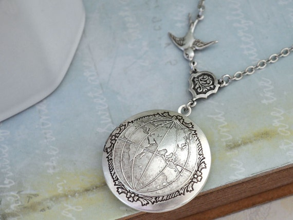 ONE  WORLD antique silver globe locket necklace, silver globe map locket, travel the world necklace