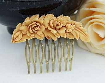 Bridal Hair Comb Wedding Hair Comb Bridesmaids Gift Vintage style Rose Feather Hair comb Christmas Bridal Hair accessories Bridal Hair Piece