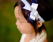 Girls Headband - Blue Chevron Headband with Blue and Silver Bows
