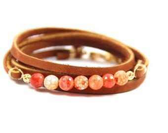 Dragon Vein Fire Agate Wrap Bracelet -- Choose Your Tassel Color