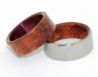 titanium rings, wood rings, mens rings, Titanium Wedding Bands, Eco-Friendly Wedding Rings, Wedding Rings - COMMUNION AND SANCTUM