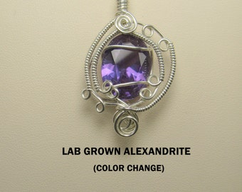 Faceted Lab Grown Color Change Alexandrite Wire Wrapped Pendant.