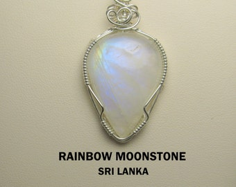 Moonstone Designer Cabochon Silver Wire Wrapped Pendant.