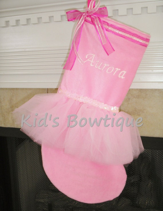 Personalized Christmas Stocking for Christmas - Pure Pink Princess Tutu Christmas Stocking