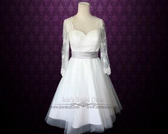 Retro 50s Tea Length Lace Wedding Dress with Long Sleeves | Short Wedding Dress | Vintage Style Wedding Dress | Divan
