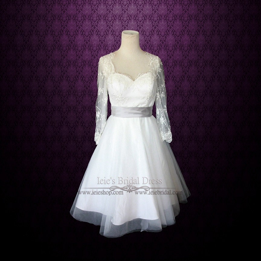 Retro 50s tea length lace wedding dress with long sleeves for Etsy tea length wedding dress