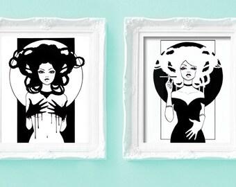 "8x10 Fine Art Print Set of 2 ""Ebony"" and ""Ivory"""