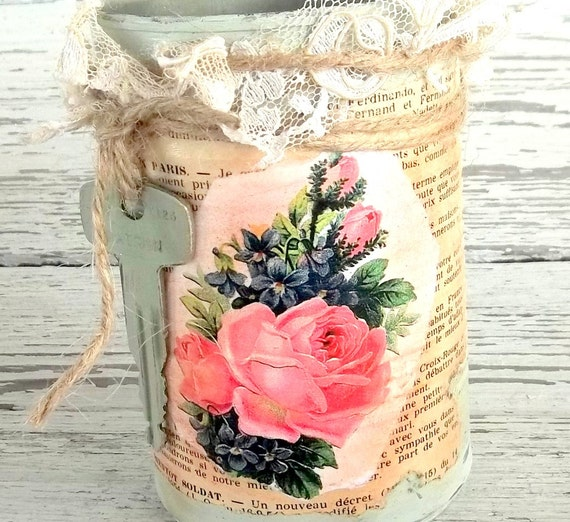 Items similar to french country wedding table centerpiece shabby french vase upcycled tin can - French country table centerpieces ...