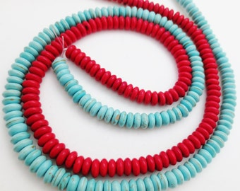 Red and Turquoise Howlight 6mm Rondelles Qty 2 Sixteen Inch Strands
