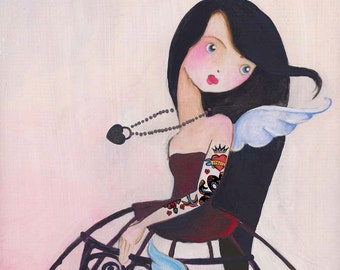 Valentine Rocker Girl Art Print, tattoo art girl