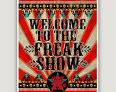 Freak Show, vintage circus, circus poster, creepy carnival, freak dorm poster, goth art, macabre wall art, Halloween art, American Horror