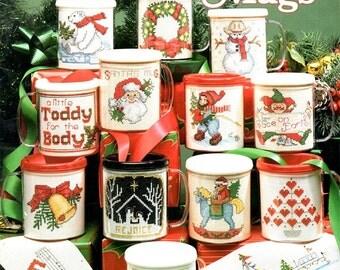 Christmas Mugs Inserts Snowman Wreath Polar Bear Santa Heart Tree Bells SAil Boat Counted Cross Stitch Embroidery Craft Pattern Leaflet 3585