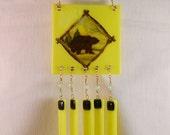 Fused Glass Windchimes, Caution Bear Crossing, Bright Yellow, Glass Czech Beads