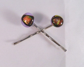 Fused Glass Hair Bobbies, Rich Dichroic Sunrise on Lavender, Set of 2