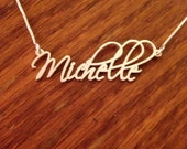 2 Uppercases Monogram Style Free Hand Name Necklace Personalized, Double Thick Sterling Silver