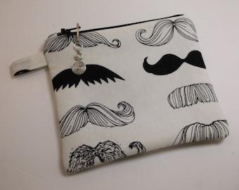Black White Mustache Coin Purse Cosmetic Makeup Travel Makeup Bag