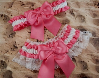 Hot Pink Satin White Satin White Lace Wedding Bridal Garter Toss Set