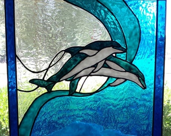 Dolphins jumping stained acrylic glass window 14 x 14