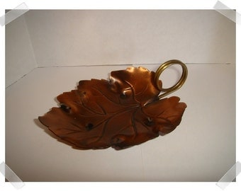 Copper Leaf Dish with handle/Home Decor*