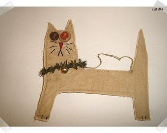 Crazy Cat Ornament/Muslin Fabric /Handmade**