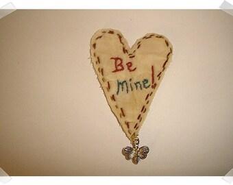 Heart/Muslin Fabric/ Ornament, Magnet, Pin OR Key Ring/ Handmade**