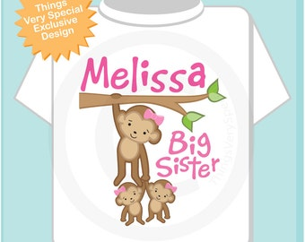 Big Sister Shirt or Onesie, Monkey Shirt, Big Sister Monkey with twin babies, Personalized Big Sister with Two Baby Girl Monkeys 01202014b