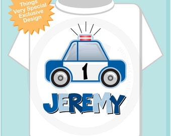 Boys First Birthday Police Shirt, Personalized Police Car Shirt, Policeman Shirt or Onesie with childs name and age (01272014d)