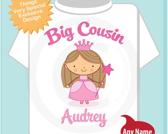 Princess Big Cousin Shirt, Personalized Big Cousin Shirt or Onesie, Big Cousin Shirt for Toddlers and Kids (0207014c)