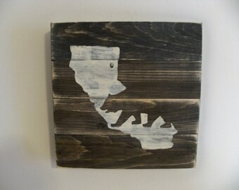 California Map and Bear Wood Wall hanging on Stain.