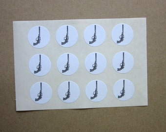 Gun Stickers One Inch Round Seals