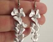 Cascading Silver Flower Earrings, Long Silver Earrings