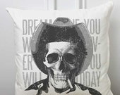 Decorative Cushion James Dean, Skull, Yellow, Zombie Chair Pillow, Punk Art, Quote, Jett Rink, Goth, Hollywood Classic, Giant Movie Icon