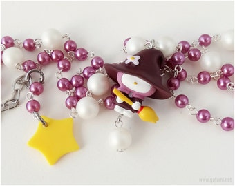 Witch Rosary Necklace, My Melody Figure, White and Purple Pearl Chain - Pastel Goth, Harajuku Fashion