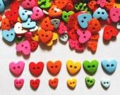 100 pcs  Cute heart button Mix size and color
