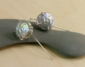 Silver Pearl Earrings, Art Earrings, Hand Made Prong Setting, Metalsmith Sterling OOAK Coin Pearls, Iridescent Silver