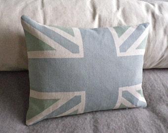 Hand printed little  norfolk blues union jack flag cushion