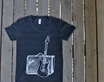 Fender Guitar and Amp T-Shirt American Apparel  Heather Black  Women's Tee