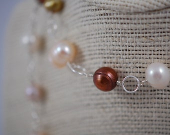 Pink, white, bronze, mauve & peach freshwater pearl necklace. Sterling silver, wire wrapped, pearl station necklace, fresh water pearls.