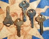 Five Vintage Flat Keys with Patina
