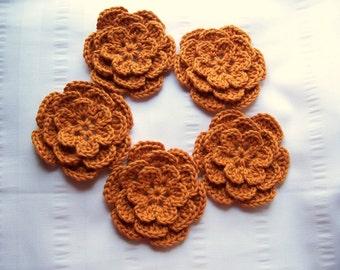 Crocheted flower 3 inch cotton sweet potato set of 5
