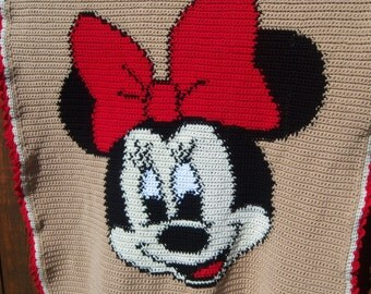 Minnie Mouse Crocheted Blanket - Youth Size - Ready to Ship - Twin Size