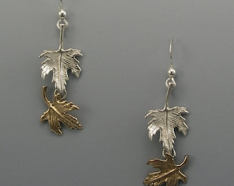 Falling Leaf Sterling Silver and Bronze Earrings