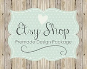 Etsy Shop Banner Avatar Set, Etsy Cover, Premade Logo Etsy Design Package, Wood Country Chic, Polka Dot Design, Rustic Banner, Cover Logo