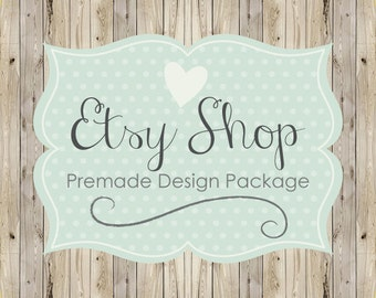 Etsy Shop Banner Avatar Set, Etsy Cover Shop Icon, Premade Logo Etsy Design Package, Wood Country Chic, Teal Polka Dot Design, Rustic Banner