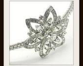 Side tiara , Swarovski crystal wedding side tiara,  vintage style wedding headpiece,  Rhinestone side tiara - ASTER FLOWER